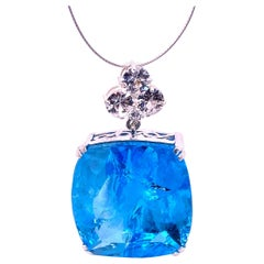 Elegant Evening Pendant in Blue Topaz and Cambodian Zircon