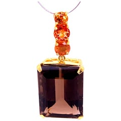Elegant Evening Pendant of Smoky Quartz and Peachy/Orange Sapphire