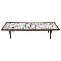 Elegant Extra Long Sleek Tiled Mosaic and Walnut Midcentury Modern Coffee Table