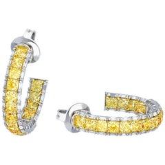 Elegant Fancy Yellow Hoop Earrings, 6.42 Carat