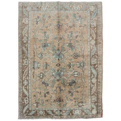 Elegant Floral Vintage Turkish Oushak Rug in Cream, Green, Light Peach and Brown