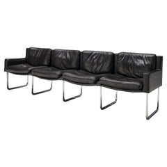 Elegant Four-Seat Sofa in Black Leather and Steel