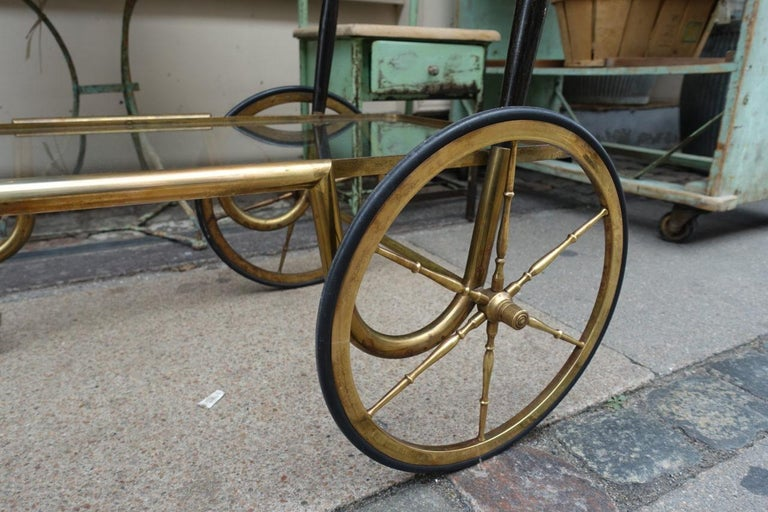 Brass Elegant French 1930s Bar Cart For Sale