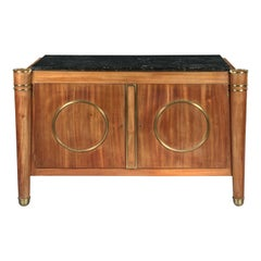 Elegant French 1940s Mid-Century Modernist Fossil Marble-Topped Commode