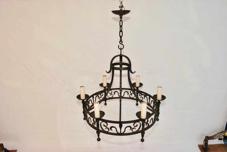 Spanish Colonial Elegant French, 1940s Wrought Iron Chandelier For Sale