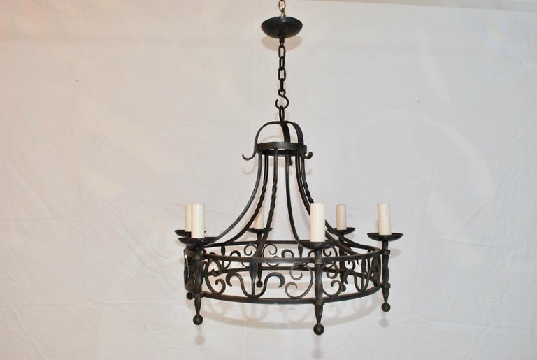 Hammered Elegant French, 1940s Wrought Iron Chandelier For Sale