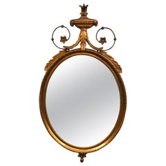 Elegant French 19th Century Neoclassical Giltwood Oval Mirror