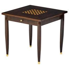 Elegant French Art Deco Macassar Game Table by Jules Leleu