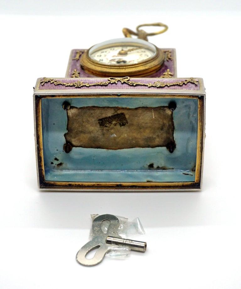 Elegant French Art Nouveau Table Clock Silver Gouilloche Enamel Brass circa 1900 For Sale 4
