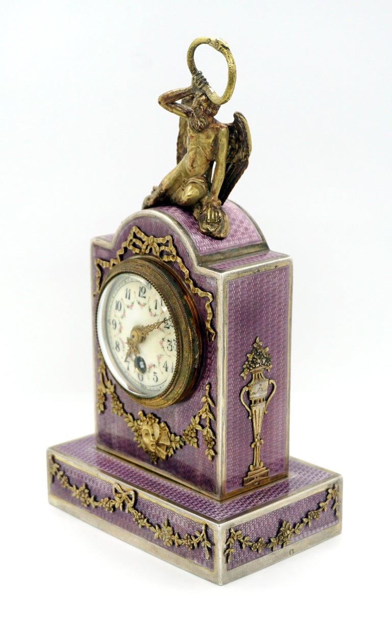 Enameled Elegant French Art Nouveau Table Clock Silver Gouilloche Enamel Brass circa 1900 For Sale