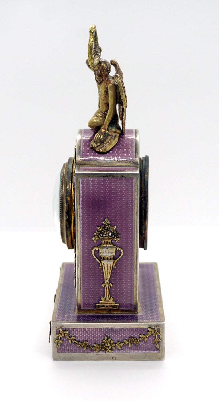 Elegant French Art Nouveau Table Clock Silver Gouilloche Enamel Brass circa 1900 In Good Condition For Sale In Vienna, AT