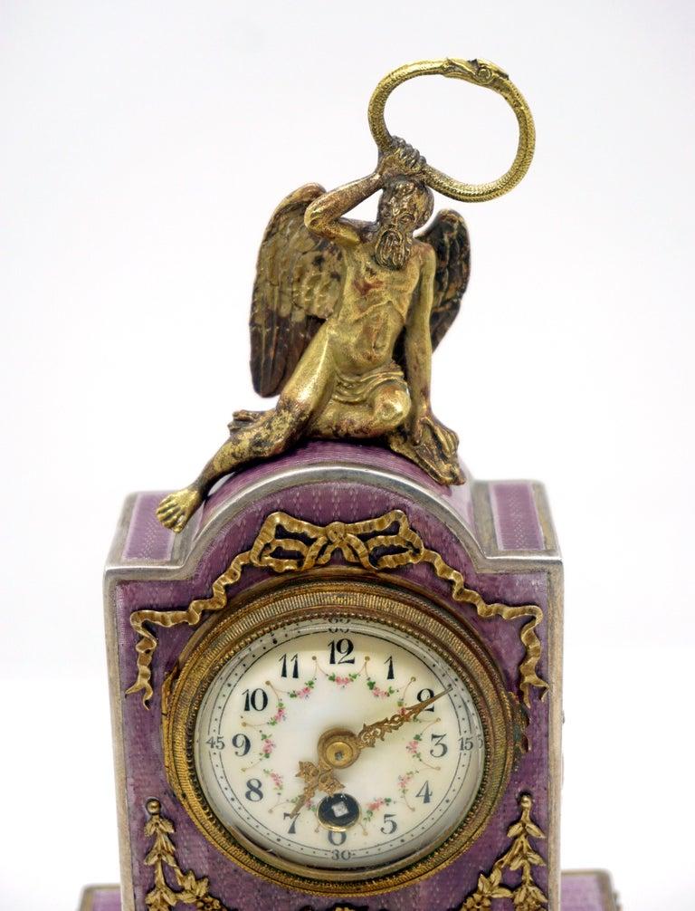 Sterling Silver Elegant French Art Nouveau Table Clock Silver Gouilloche Enamel Brass circa 1900 For Sale