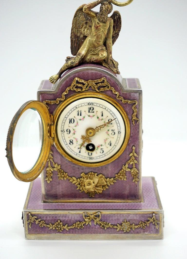 Elegant French Art Nouveau Table Clock Silver Gouilloche Enamel Brass circa 1900 For Sale 1