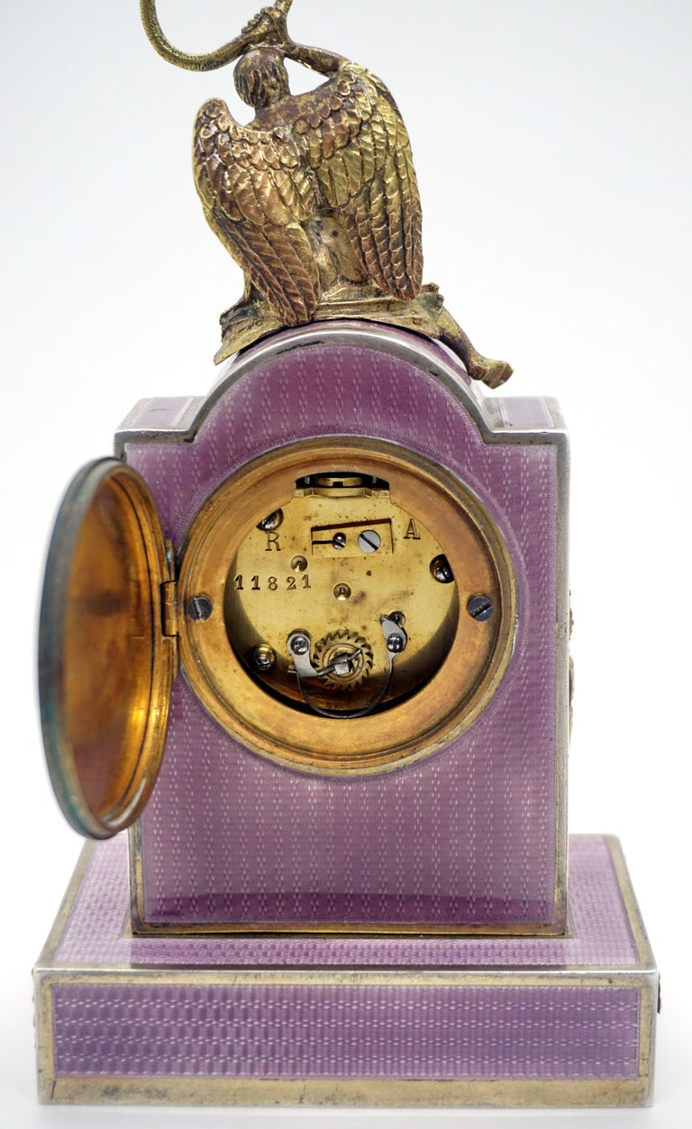 Elegant French Art Nouveau Table Clock Silver Gouilloche Enamel Brass circa 1900 For Sale 2