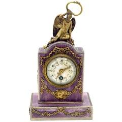 Elegant French Art Nouveau Table Clock Silver Gouilloche Enamel Brass circa 1900