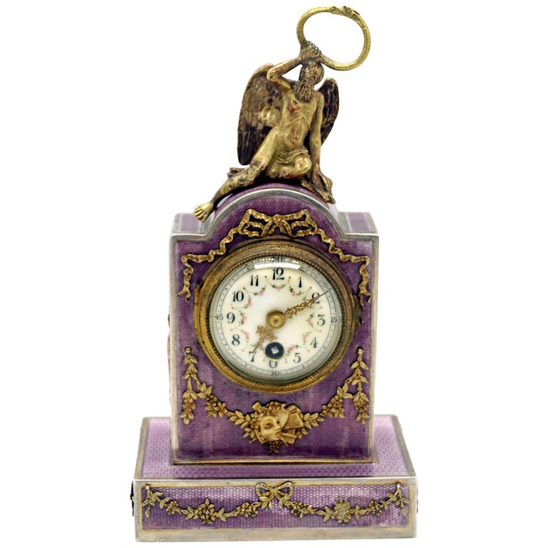 Elegant French Art Nouveau Table Clock Silver Gouilloche Enamel Brass circa 1900 For Sale
