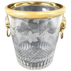 Elegant French Baccarat Lion Handle Bronze Cut Crystal Ormolu Ice Bucket Cooler