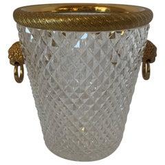 Elegant French Baccarat Lion Handle Doré Bronze Cut Crystal Ormolu Ice Bucket