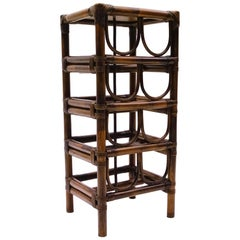 Elegant French Bamboo and Rattan Wine Rack for Eight Bottles with Shelf