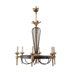 Elegant French Black and Gold Iron Chandelier from the Mid-20th Century