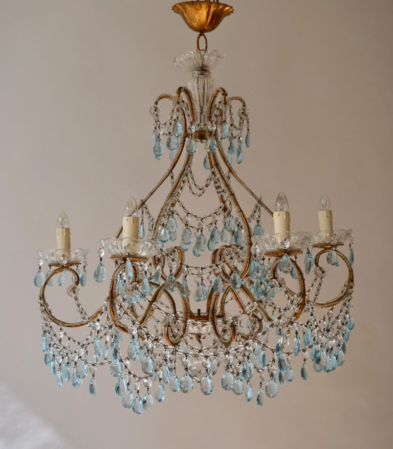 Elegant French Brass and Glass Chandelier For Sale 5