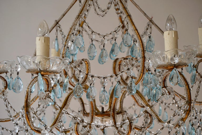 Elegant French Brass and Glass Chandelier For Sale 6