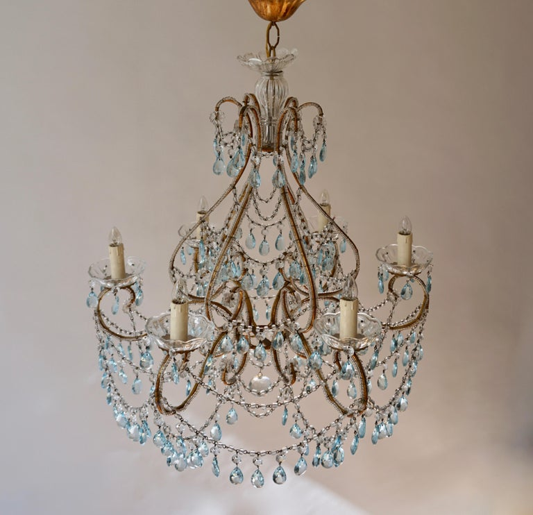 Elegant French Brass and Glass Chandelier For Sale 7