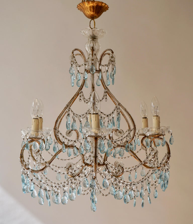 Midcentury French Marie Therese blue 6-light crystal chandelier. Dating back to 1950s. Wired for EU. Measures: Diameter 59 cm. Height fixture 65 cm. Total height 75 cm.