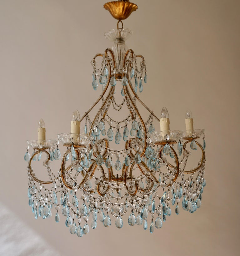 Hollywood Regency Elegant French Brass and Glass Chandelier For Sale