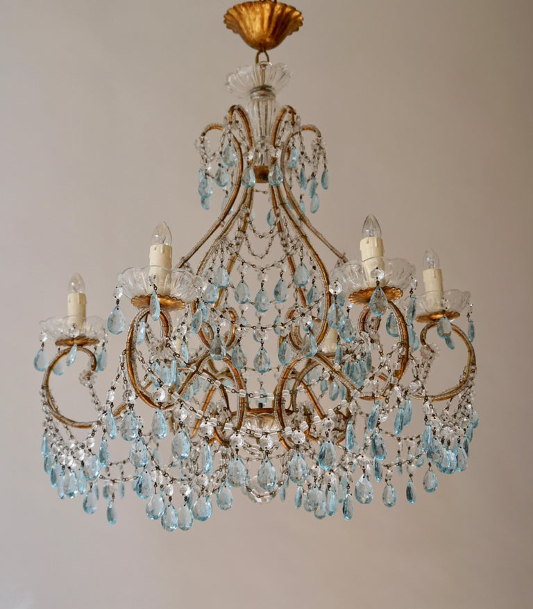 Elegant French Brass and Glass Chandelier In Good Condition For Sale In Antwerp, BE