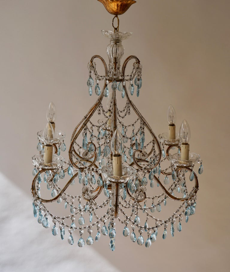 20th Century Elegant French Brass and Glass Chandelier For Sale