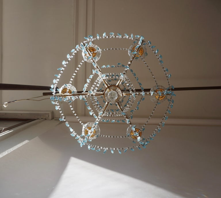 Elegant French Brass and Glass Chandelier For Sale 2