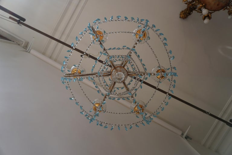Elegant French Brass and Glass Chandelier For Sale 3