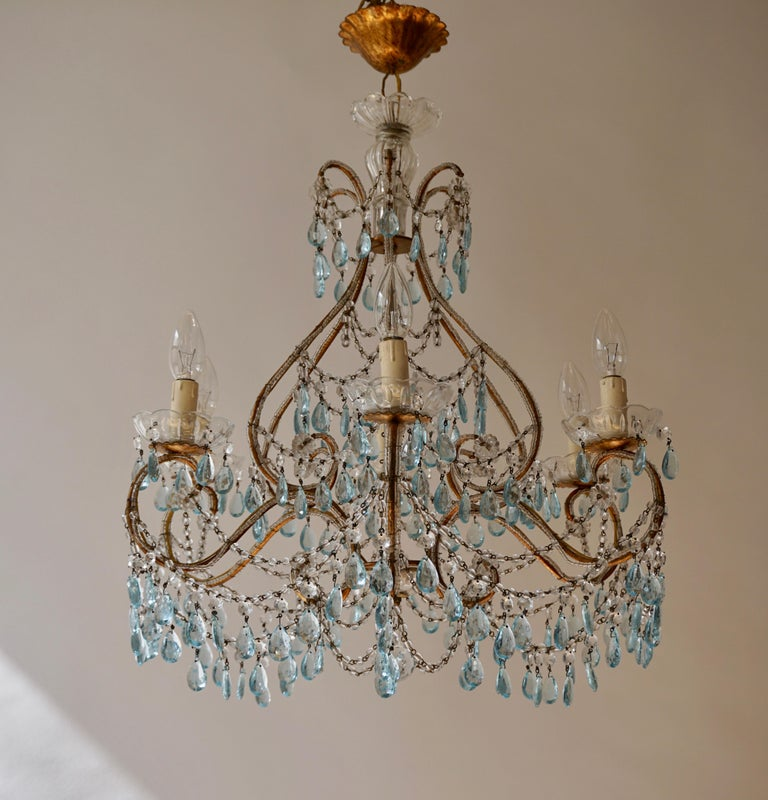 Elegant French Brass and Glass Chandelier For Sale 4