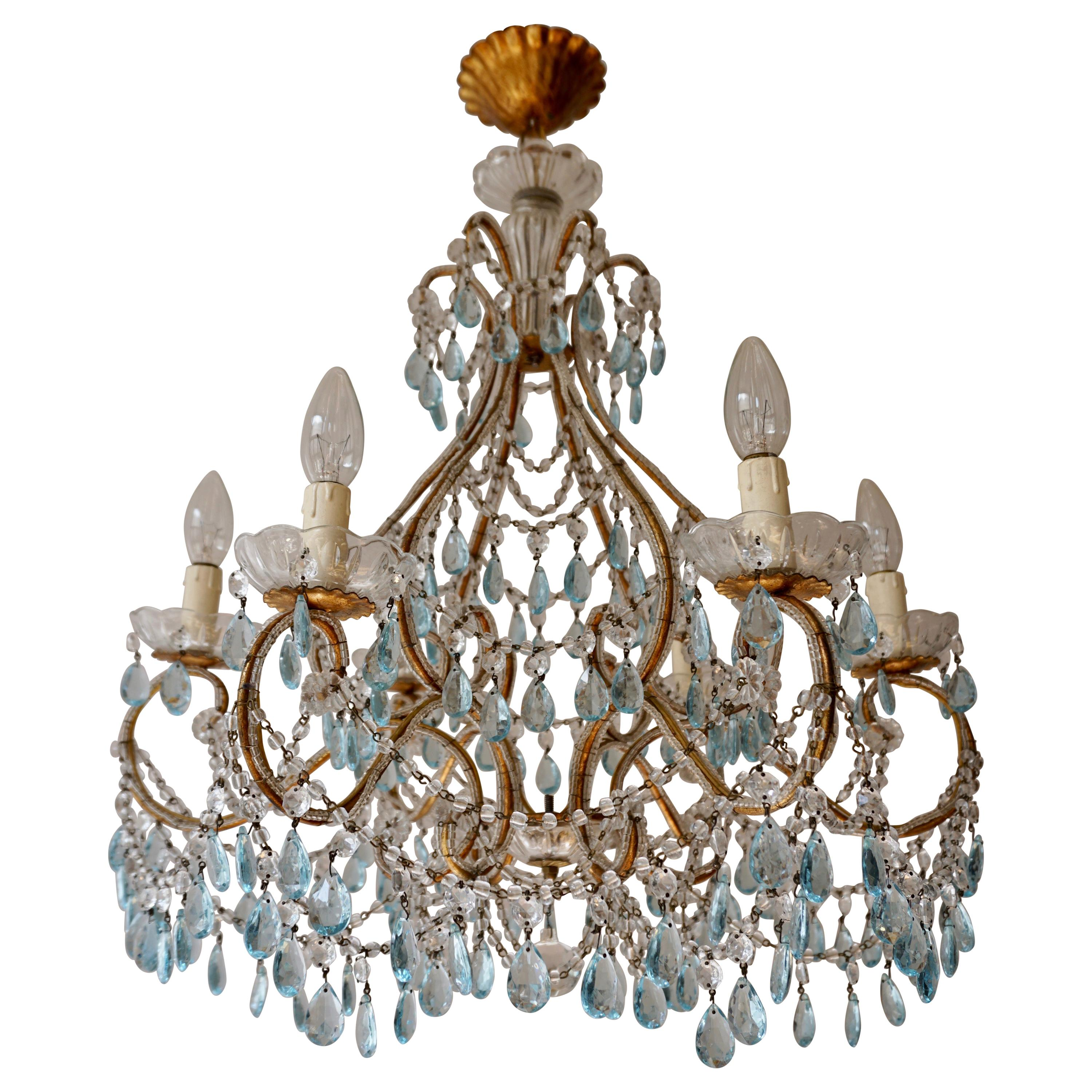 Elegant French Brass and Glass Chandelier