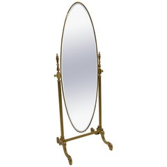 Elegant French Brass Cheval Full Length Standing Mirror