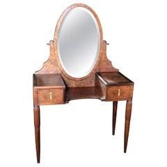 Elegant French Burled Walnut Dressing Table Vanity with Beveled Mirror
