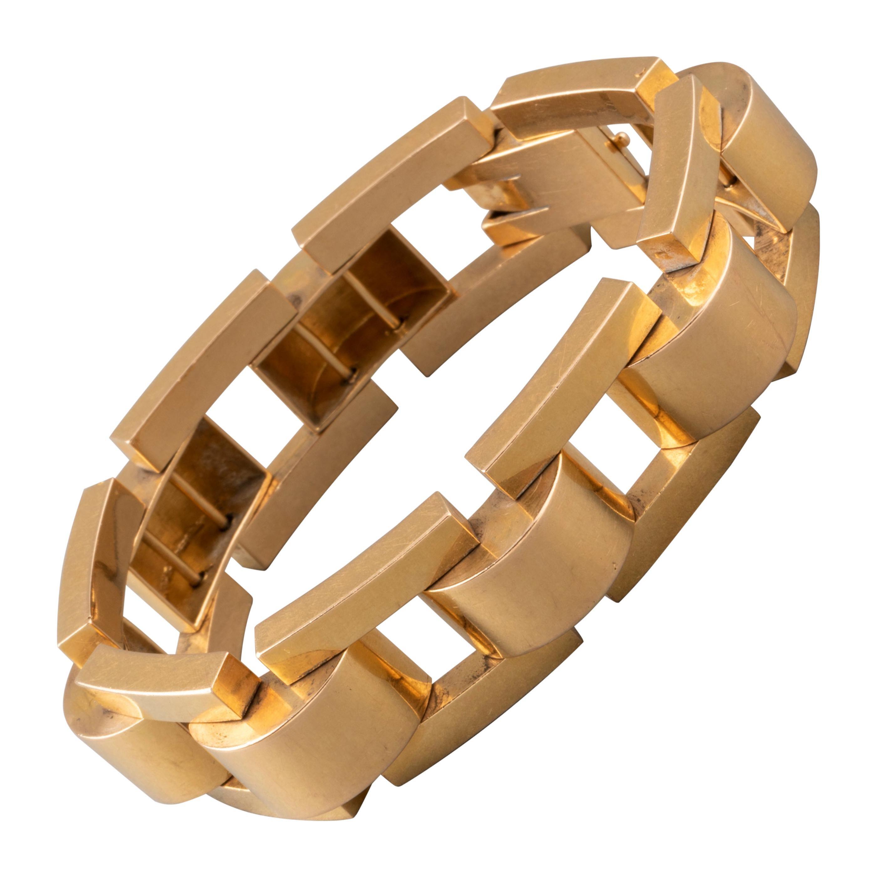 Elegant French Gold Tank Bracelet
