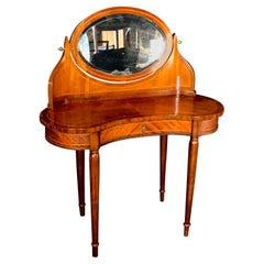 Elegant French Inlaid Walnut Dressing Table Vanity