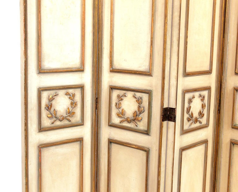 Hollywood Regency Elegant French Ivory and Gilt Folding Screen For Sale