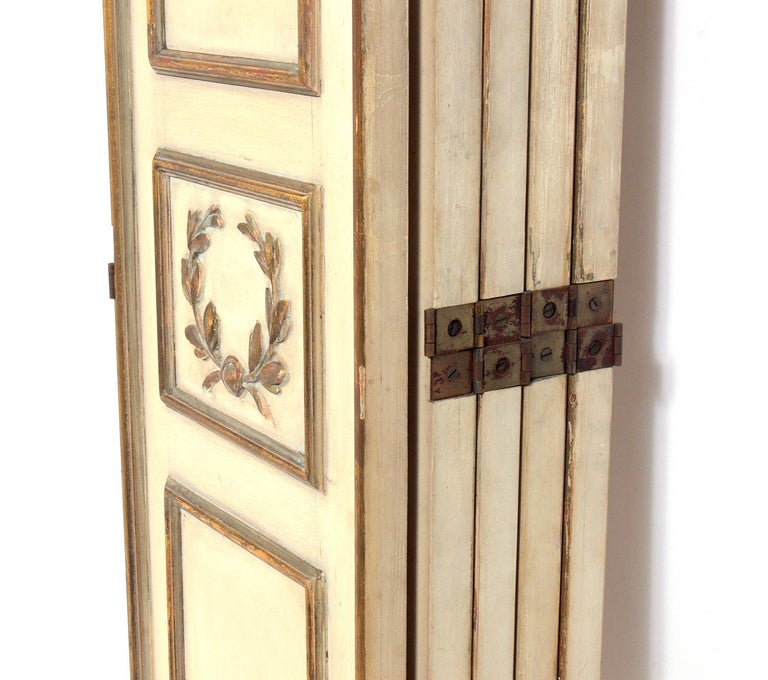 Elegant French Ivory and Gilt Folding Screen For Sale 1