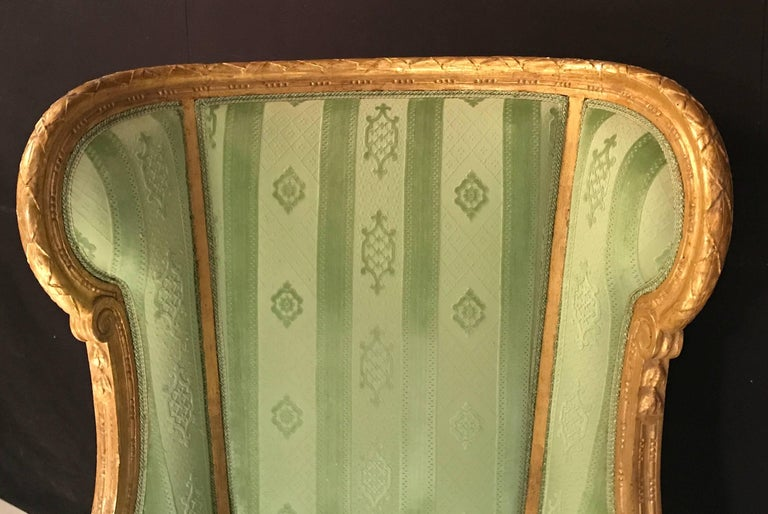 Wood Elegant French Louis XVI Giltwood Armchair or Bergère, 1780 For Sale