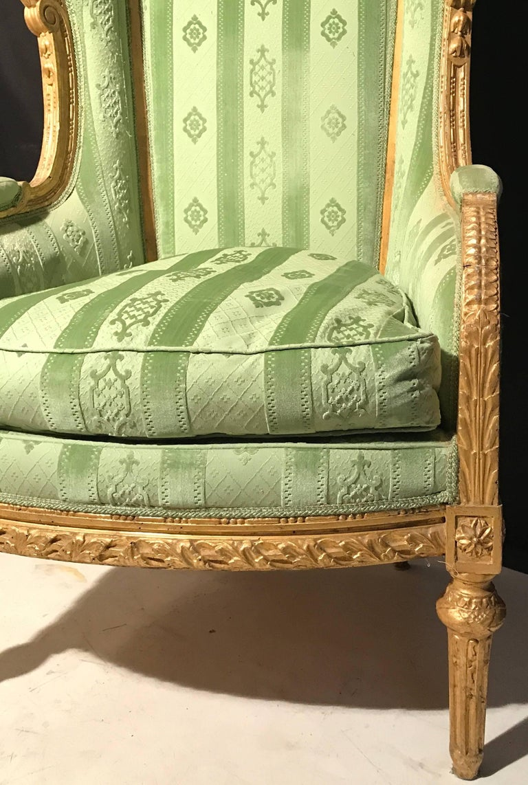 Elegant French Louis XVI Giltwood Armchair or Bergère, 1780 For Sale 1