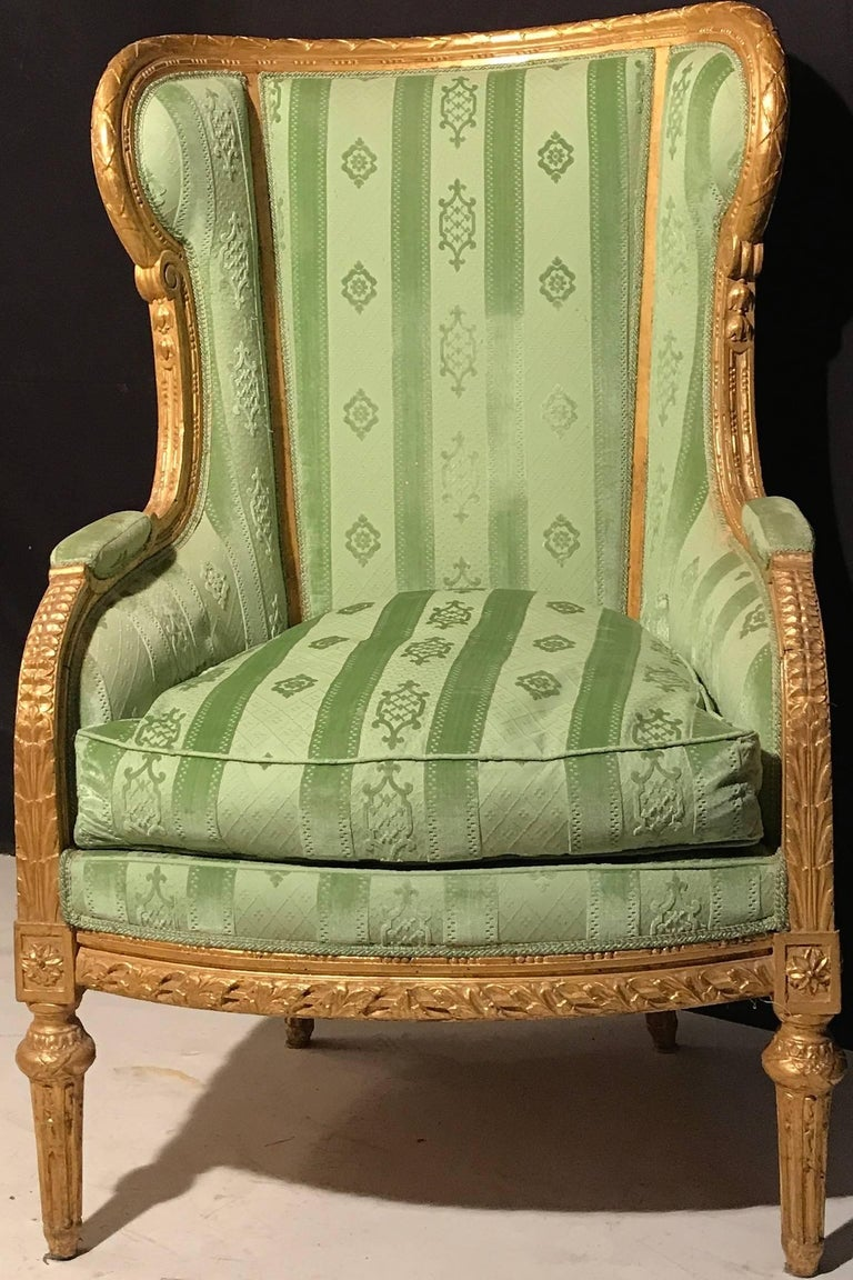 Elegant French Louis XVI Giltwood Armchair or Bergère, 1780 For Sale 2
