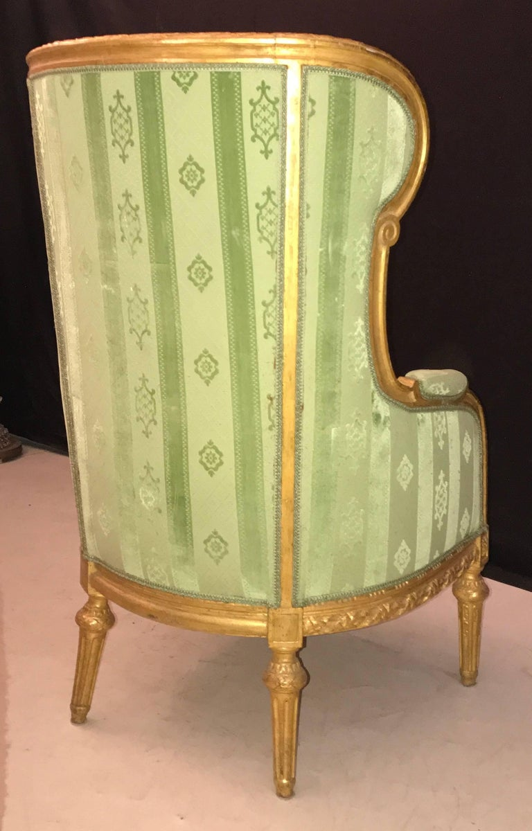Elegant French Louis XVI Giltwood Armchair or Bergère, 1780 For Sale 3