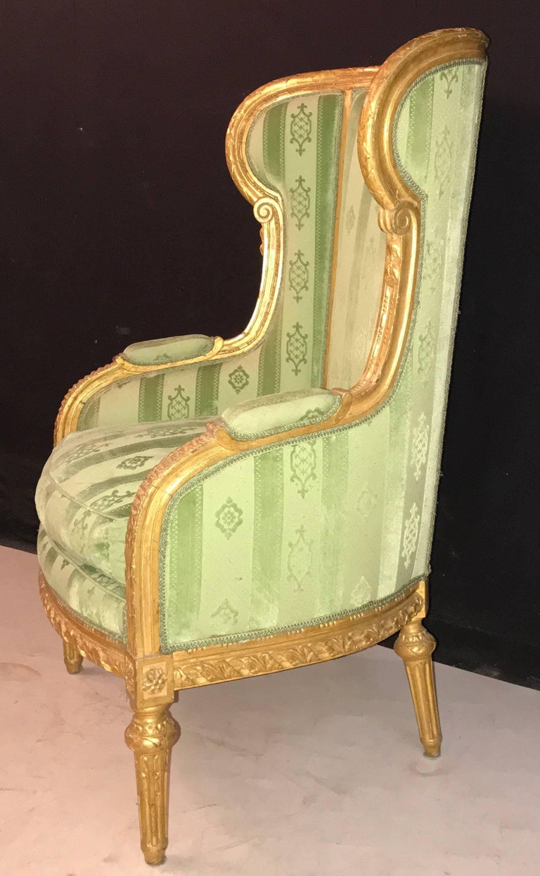Elegant French Louis XVI Giltwood Armchair or Bergère, 1780 For Sale 4