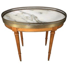 Elegant French Louis XVI Style Oval Oak Marble Topped Side Table