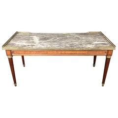 Elegant French Louis XVI Walnut Marble Top Coffee Table