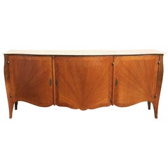 Elegant French Parquetry Three-Door Marble-Top Buffet or Sideboard