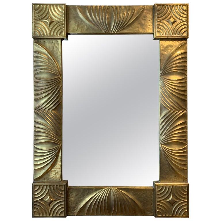 Elegant French Repoussé Gilt Metal Mirror, 1940s For Sale